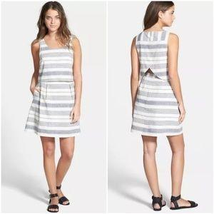 Madewell Striped Overlay Dress 2 Blue Linen Blend